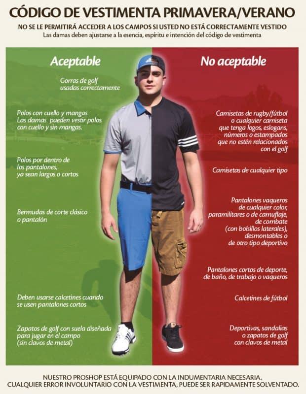 Cartel de las normas de etiqueta en la vestimenta de un campo de golf. c5fb35685a0